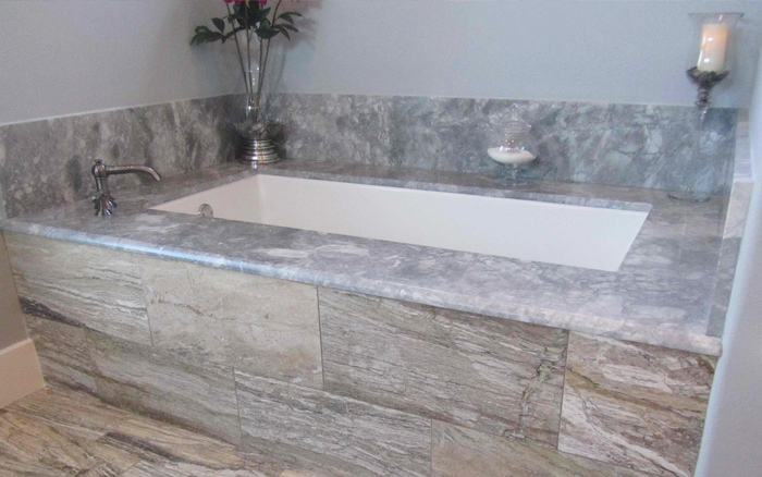 Grey Goose quartzite tub surround