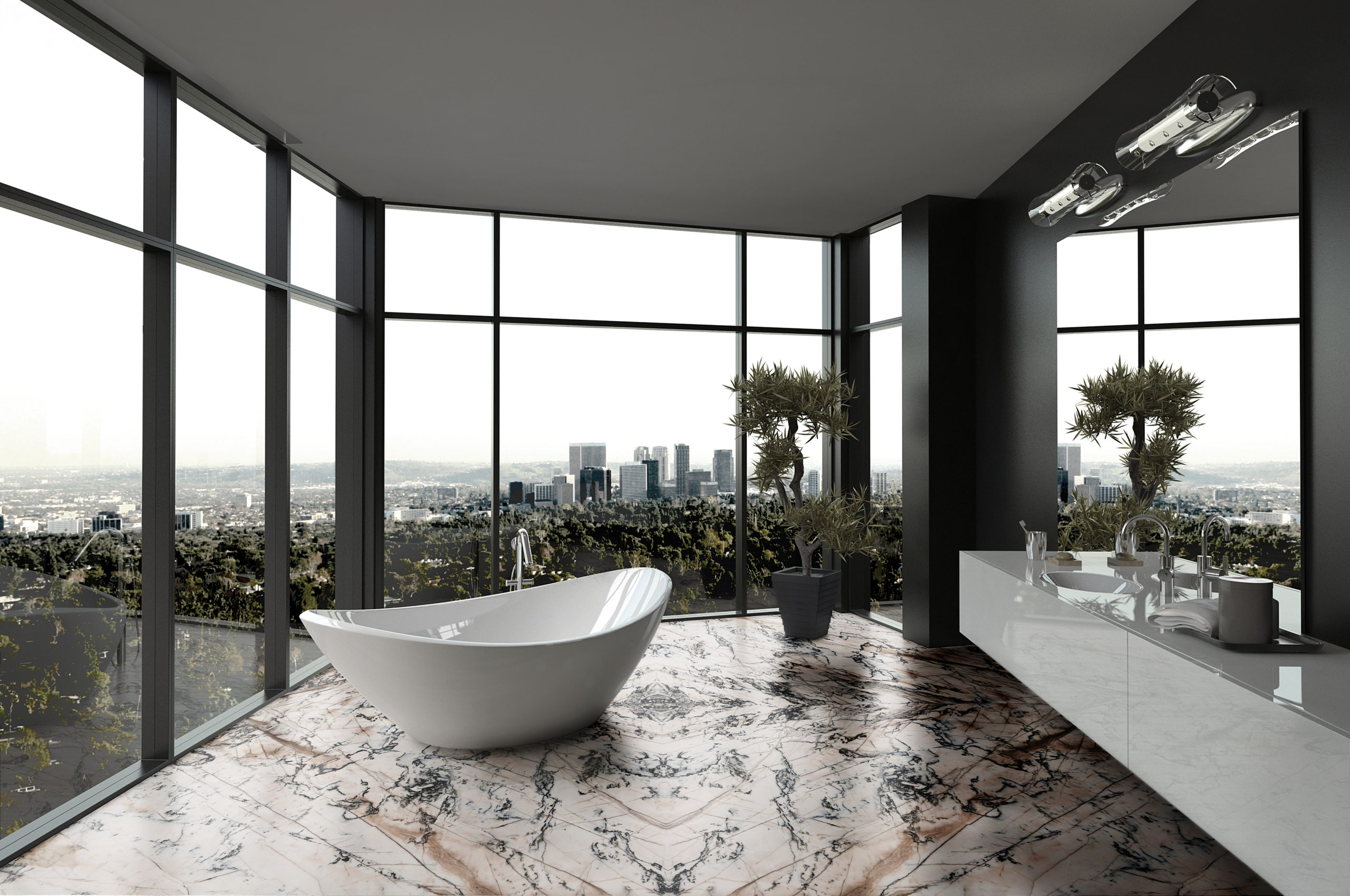 Porcelain tub with Cristallo Venato Quartzite flooring